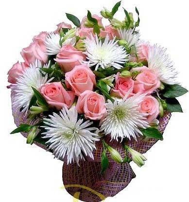 buket iz roz i hrizantem Букет из роз и хризантем фото